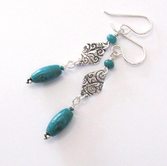 Turquoise Gemstone Earrings, Fine Silver Diamond Shape, Sterling Hooks, Long Dangle