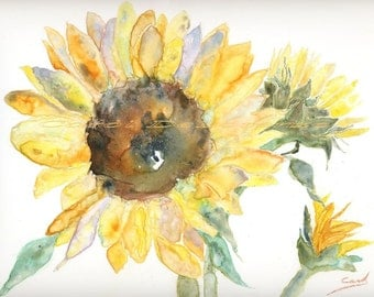 Watercolor Painting Sunflower Art, Sunflower Painting, Sunflower Watercolor, Floral Art Print Titled Sunflower and Buds