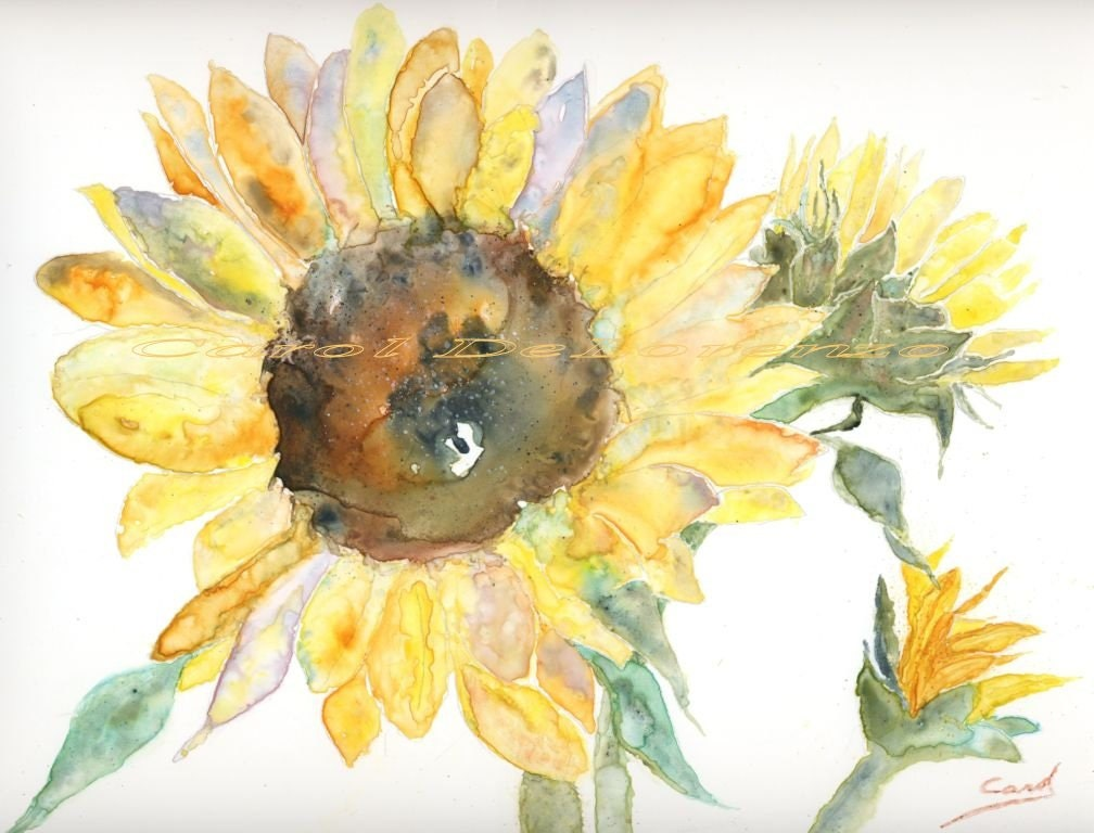 Watercolor Painting Sunflower Art Sunflower Painting