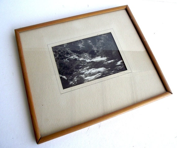 1940s Black and White Mountain Creek Nature Photograph