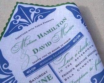 Art deco wedding invitation handkerchief in royal blue and emerald green - set of 10