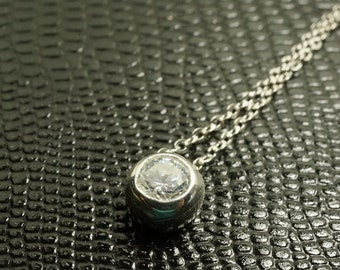 925 Stamped Sterling Silver Round Crystal Necklace