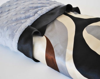 NEW LUXURIOUS  BLANKET  wavy satin print with soft minky dimples and trim........Very trendy and modern baby  boy blanket