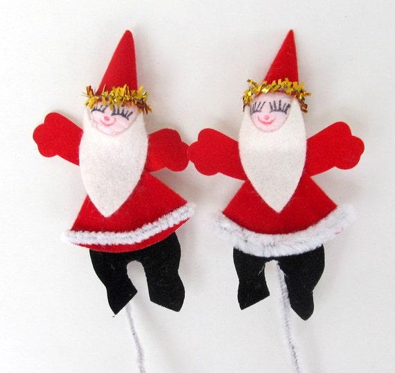 SALE Vintage Spun Cotton Santa Christmas Package Decoration Pick Tie-On
