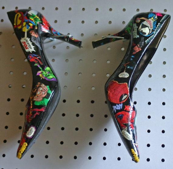 Sexy Decoupaged Spiderman Comic High Heels Wmns Sz 8 and Half Marvel Comics Recycled