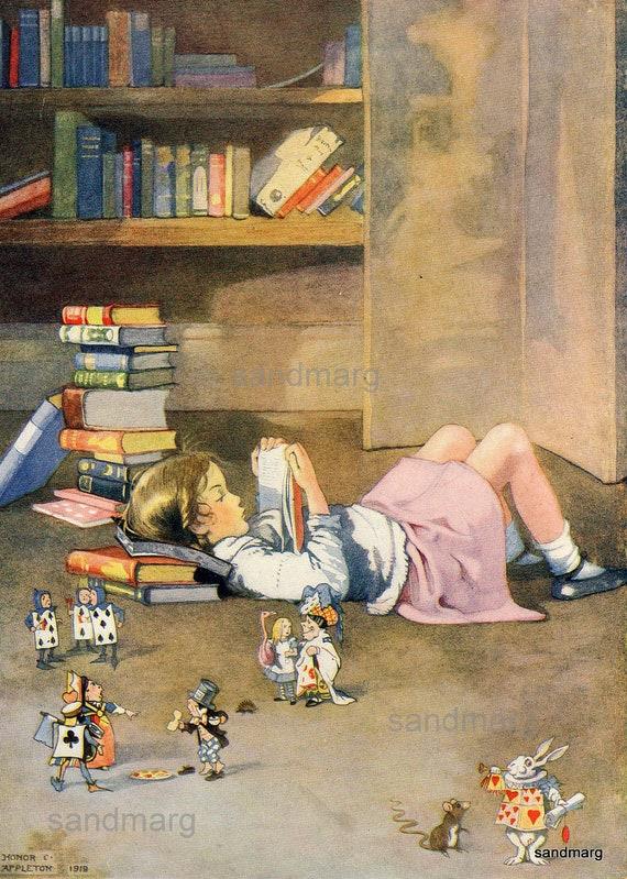 Vintage 1919 Storybook Illustration Reading Books Alice In