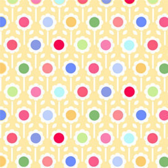 SALE---1 yard---Big Dot in Yellow, Pam Kitty Morning, Lakehouse Dry Goods