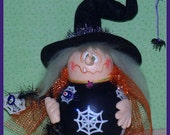 Hand Painted Halloween Witch Gourd web spider hp prim chick ofg lisa robinson teamhaha hafair WEAVER