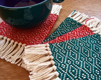 handwoven coaster set in red and forest green (set of 4)