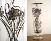 1950s Crystal and Sterling Silver Overlay Flower Vase