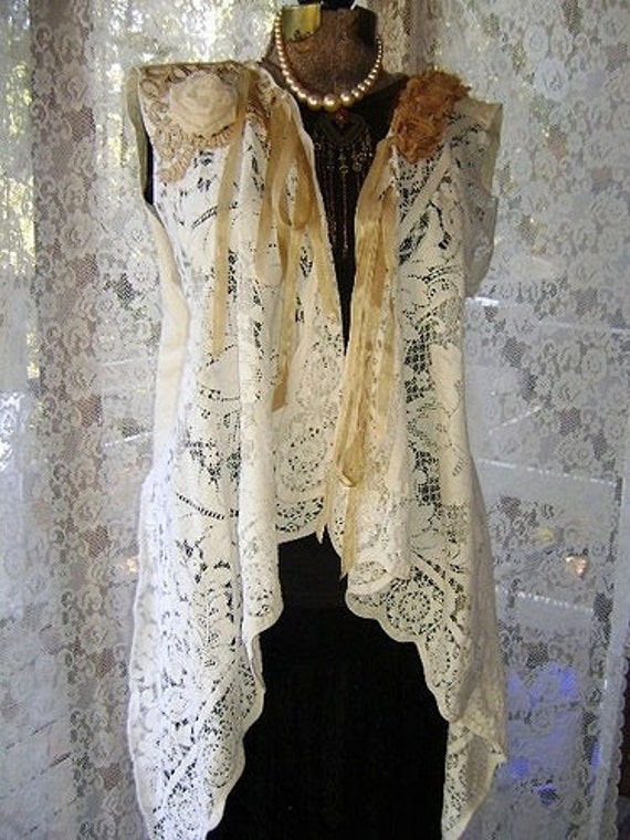 Victorian Tunic Vest, vintage lace and textiles, off white with a little magnolia & ivory pearl brooch, one size fits most, for the romantic