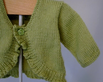 Baby Girl Sweater lime green 12 month Ready to Ship