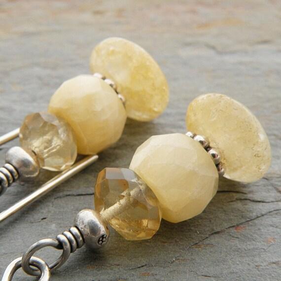 Citrine Earrings, Honey Onyx, Gemstones, Sterling Silver, Hill Tribe Silver