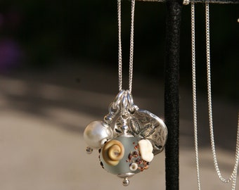 Sterling Silver Sand Dollar Pearl Etched Lampwork Glass DeSIGNeR Necklace Beach Summer Sand Shells Vacation Wedding