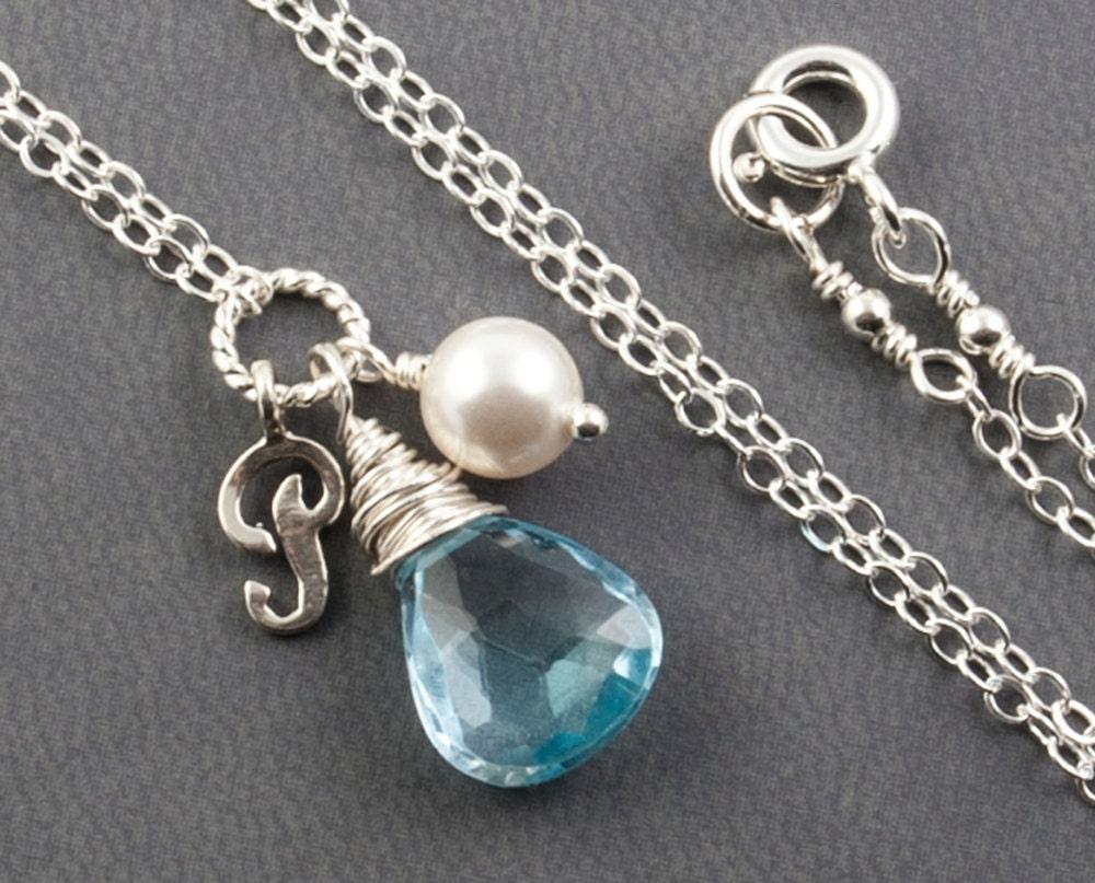 December Birthstone Necklace Sky Blue Topaz Necklace