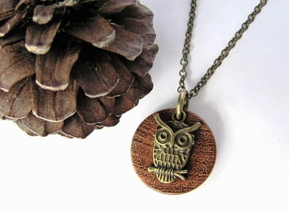 Owl Necklace Wood Brass Charm Mesquite Wooden Pendant  Natural Eco Friendly Jewelry by Hendywood