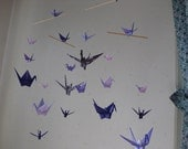 "Reserved for Louise - Mix Sized Crane Mobile - Grace and Elegance - 22 cranes folded from 2"" to 6"" Solid and Patterned in Purple Shades"