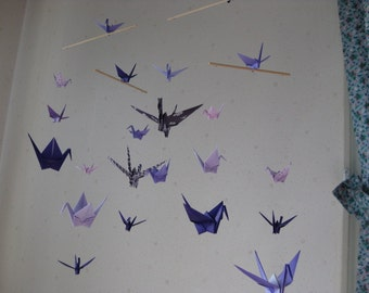 """Mix Sized Crane Mobile - Grace and Elegance - 22 cranes folded from 2"""" to 6"""" Solid and Patterned in Purple Shades, Home Decor, Nursery Decor"""