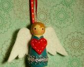 Wool Felt Wood Peg Angel Ornament with Heart