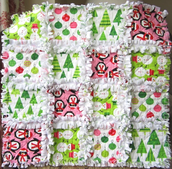 "Baby Christmas Quilt, Minky Blanket, Mini Rag Quilt, 21"" x 21"""