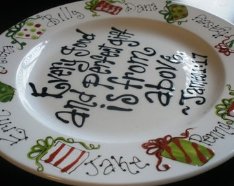 Hand Painted Plate, Every Good and Perfect Gift, Family Personalized Christmas Plate
