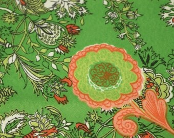 SALE vintage 60s novelty fabric featuring wild green and peach leaves and flowers motif, 1 yard, 2 available priced PER YARD