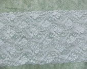 "Extra Wide Floral Scalloped Double Edge Bridal Lace Trim - White - Approx 14""  Wide - 3 Yards"