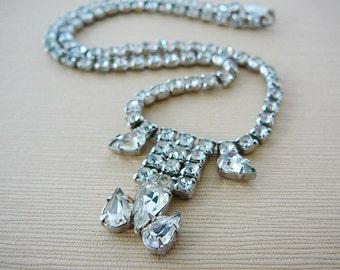 Vintage .. Necklace, Czech Rhinestone, Clear, Statement, Bridal, Wedding