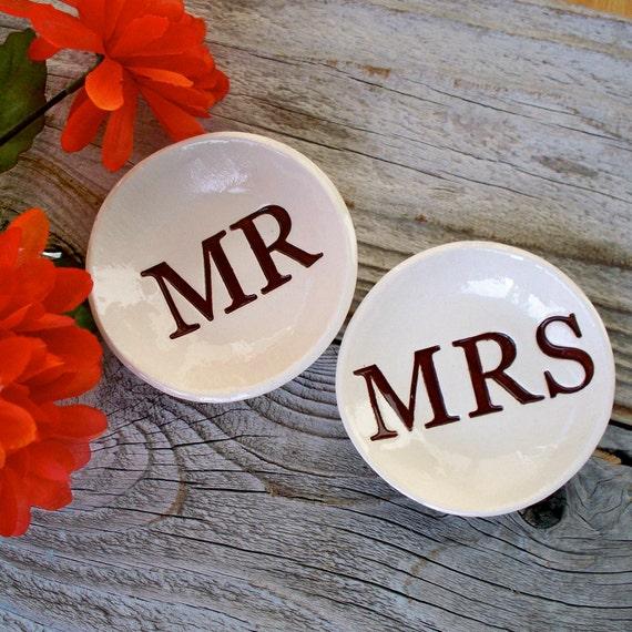 Mr & Mrs Ring Bowl Set Wedding Gift Engagement By SayYourPiece