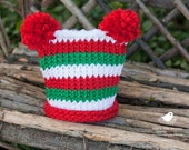 Red, White, and Green Knit Pom Pom Hat/beanie-Christmas/holiday-newborn to 12 month sizes-Great Photography Prop