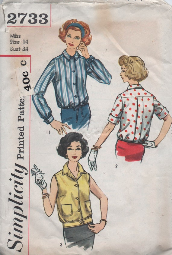 1950s vintage pattern Simplicity 2733 size 14 bust 34 waist 26 hips 36 Misses' Overblouse