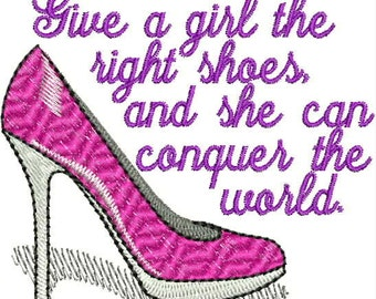 Marilyn Monroe Shoe Quote Embroidery Design