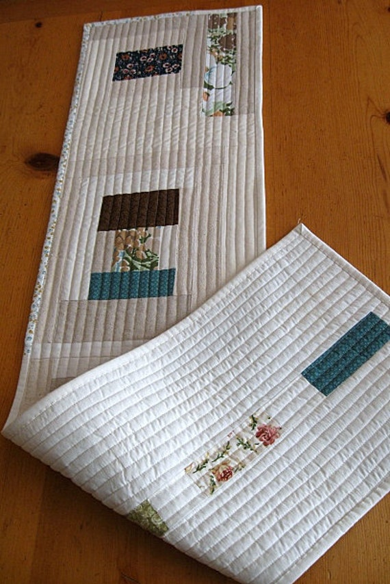 "SALE ... table runner - muslin - onasburg - scrappy - 11.5"" x 46"" - ready to ship"