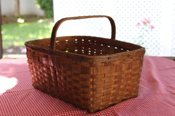 Primitive Woven Basket with Wooden Handle
