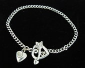 Silver Metal Chain Bracelet with Heart Toggle Clasp and Charm is ready for  Dangles or Charms, A021-A