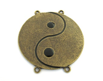 Antiqued Brass Yin Yang Symbol 48mm x 44mm Round, 4-loops Focal Pendant Connector, 1042-14