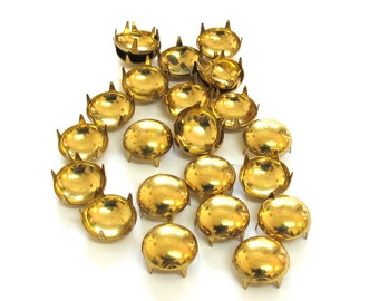 Raw Brass Studs Nail Head Style Steampunk , 12mm  Round Finding Leather Embellishment, Sold per 18 pc, 1039-32