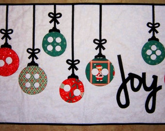 JOY Christmas Applique Quilt from Quilts by Elena Perfect Holiday Gift Wall Hanging Table Runner