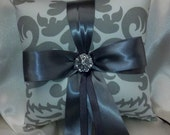 DAMASK RINGBEARER PILLOW Grey and White Damask with Pewter Ribbon and Rhinestone Accent- Gray or Your Choice of Ribbon Color