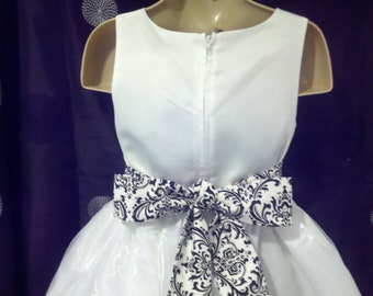 SALE SASH ONLY Was 25.00  Flower girl or bridesmaid Madison damask black white  1.5-2 inches wide 72 to 108 inches- long