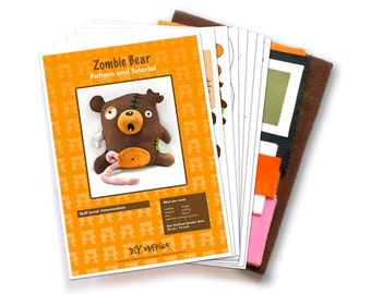 Zombie bear sewing kit - sew a cute stuffed zombie