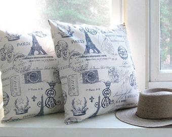 Decorative Pillow Cover Paris Pillow Navy Pillow 8 Sizes Available Cushion Covers