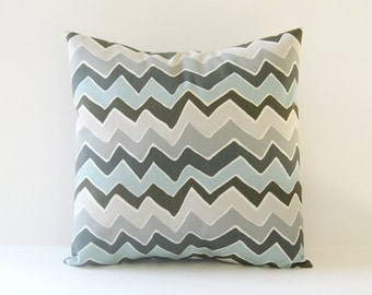Chevron Pillow Cover Decorative Pillow Cover Blue Pillow Gray Pillow Size Choice
