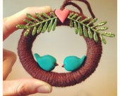 Love Birds Yarn Wreath Ornament