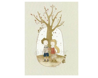 Autumn Love Anniversary, Birthday, Valentine's Day  Print  Blank Card  of an Original Illustration