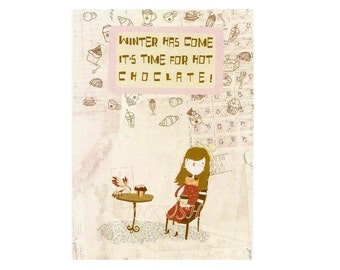 "Time For Hot Chocolate  Blank Greeting Card in Pink Brown Red and White, 4 x 6 "" Art Print Of Illustration"