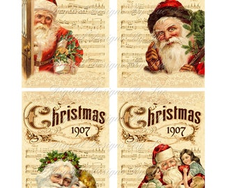 Instant Download  - 1907 Christmas - High quality digital full size sheet - Printable Download - - Hang Tags - One of a Kind