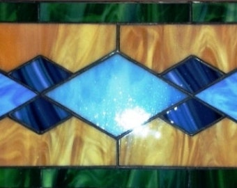 "Stained glass panel - ""Traditional Diamonds"" (P-29)"
