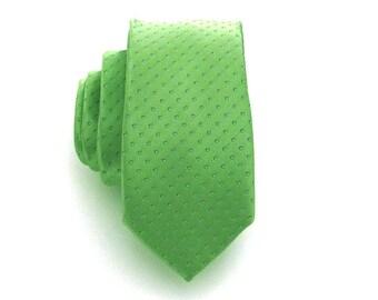 Mens Skinny Tie  Necktie Green Dot Skinny Neck Tie