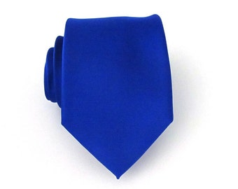 Mens Ties. Blue Tie. Ultramarine Blue Silk Necktie With Matching Pocket Square Option